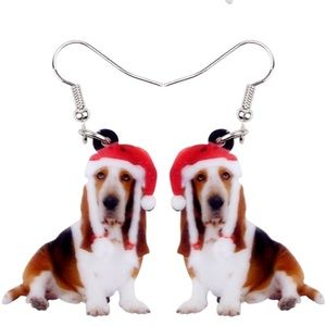 Santa Hat Basset Hound Christmas Acrylic Earrings